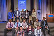 Purchase, NY – 31 October 2014. The winning team from White Plains High School, with the competition judges behind them. (Front row, left to right: Jesseca  Simpson,  Samarsha Drysdale,  Ross Van Doron; second row: Frank Marte, Matthew Garrison, Robert Lovitch, Victoria Torres, Alisa Chaibay, and Morgan Stanley facilitator Craig Styles.) The Business Skills Olympics was founded by the African American Men of Westchester, is sponsored and facilitated by Morgan Stanley, and is open to high school teams in Westchester County.