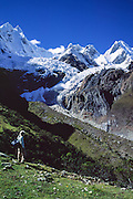 """Yerupaja Grande is the highest point in the Amazon River watershed (far right, west face, 6635 m or 21,768 ft), the second-highest peak in Peru, and highest in Cordillera Huayhuash. In the center is Mount Jirishanca, or the """"Icy Beak of the Hummingbird"""" (6126 m or 20,098 feet elevation), in the Andes Mountains, Peru, South America."""