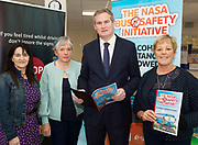Repro free:  No Alcoholic Substances Allowed!<br /> <br />  Tusla's Laura Nee, and Brid Burke with Minister Sean Kyne and Margaret Griffiths Sypsu.<br /> This is the message and purpose of the NASA Bus Safety Initiative, which was launched in County Galway last Friday, the 8th of September in Coláiste Bhaile Chláir, Claregalway.<br /> Underage drinking, both before, and on the way to, junior discos and events, has become an increasing problem for parents, for bus operators, for An Garda Síochána and other public bodies such as our paramedic, ambulance and hospital services.<br /> On many occasions in recent years, we have seen undesirable outcomes and scenarios when young people have placed themselves and others at personal risk due to alcohol consumption. <br /> To try to alleviate this problem, and in response to the growing concern amongst professionals, parents and even young people themselves, the NASA (No Alcoholic Substances Allowed) Bus Safety Initiative has been developed. Its aim is to highlight and promote young people's safety when using private hire buses for travelling to and from events. <br /> The NASA Bus Safety Initiative has been developed by an inter-agency group consisting of representatives from the HSE, An Garda Síochána, the WRDATF (Western Region Drugs Alcohol Taskforce) and the Road Safety Authority (RSA)  Photo:Andrew Downes, xposure