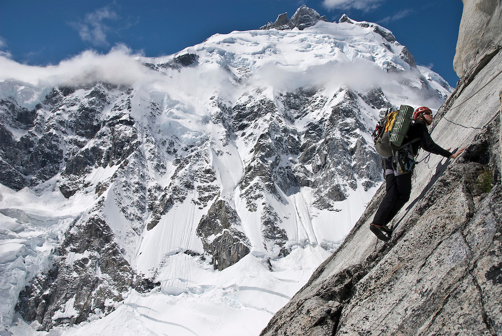 Kate Rutherford, The Direct South Buttres of Mt. Tiedemann, Waddington Range, BC (1600M ED2 5.11)
