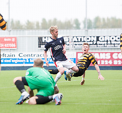 Falkirk's Craig Sibbald scoring their second goal.<br /> Falkirk 3 v 1 Alloa Athletic, Scottish Championship game played today at The Falkirk Stadium.<br /> © Michael Schofield.