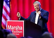 U.S. Senator Lindsey Graham gestures as he speaks during a campaign event for Republican U.S. Representative Marsha Blackburn Sunday, Oct. 28, 2018, in Nashville, Tenn.