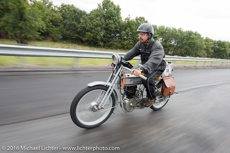 Victor Hugas of Texas riding his Class-1 single-cylinder single-speed 1913 Harley-Davidson during the Motorcycle Cannonball Race of the Century. Stage-7 from Springfield, MO to Wichita, KS. USA. Friday September 16, 2016. Photography ©2016 Michael Lichter.