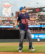 A Minnesota Twins fan dances during a contest between innings during a game between the Twins and Oakland Athletics on July 13, 2012 at Target Field in Minneapolis, Minnesota.  The Athletics defeated the Twins 6 to 3.  © 2012 Ben Krause