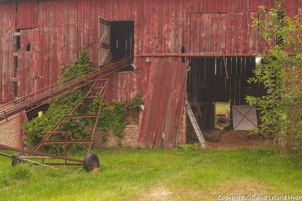 Tasty Acres Barn and Hay Lift Detail Near Richland, Michigan, Entrance, Back Door, Tractor, Aluminum Ladder, White Door With Red X, Heartland America, Midwest