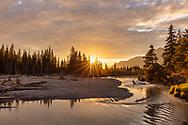 Sunset along Eagle River Valley in Southcentral Alaska. Spring. Evening.