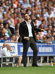 Derby County manager Frank Lampard reacts on the touchline