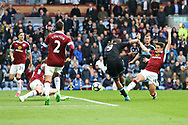 Salomon Rondon of West Bromwich Albion shoots and scores his teams 1st goal to make it 1-1. Premier League match, Burnley v West Bromwich Albion at Turf Moor in Burnley , Lancs on Saturday 6th May 2017.<br /> pic by Chris Stading, Andrew Orchard sports photography.