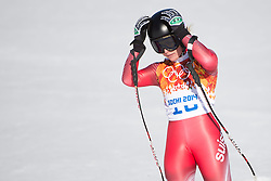12.02.2014, Rosa Khutor Alpine Center, Krasnaya Polyana, RUS, Sochi, 2014, Abfahrt Damen, im Bild Lara Gut (SUI) // during the Womens downhill of the Olympic Winter Games Sochi 2014 at the Rosa Khutor Alpine Center in Krasnaya Polyana, Russia on 2014/02/12. EXPA Pictures © 2014, PhotoCredit: EXPA/ Freshfocus/ Michael Zanghellini<br /> <br /> *****ATTENTION - for AUT, SLO, CRO, SRB, BIH, MAZ only*****