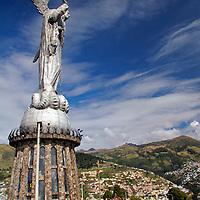 Americas, South America, Ecuador, Quito. The Virgin of Panecillo watches over Quito, A UNESCO WOrld Heritage Site.