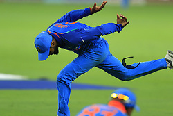 September 21, 2018 - Dubai, United Arab Emirates - Indian cricketer Ravindra Jadeja drops a catch during the 1st cricket match of the Super four group  of Asia Cup 2018 between India and Bangaldesh at Dubai International cricket stadium,Dubai, United Arab Emirates. 09-21-2018  (Credit Image: © Tharaka Basnayaka/NurPhoto/ZUMA Press)
