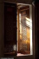 An interior wooden door in the Blue Mosque, Istanbul, Turkey.