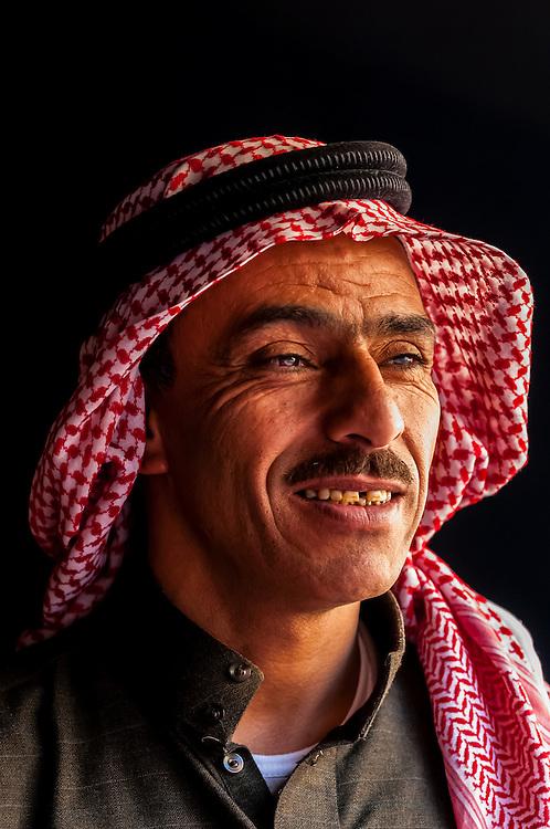 Bedouin man in his tent in the Arabian Desert at Wadi Rum, Jordan.