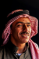 Bedouin man in his tent in the Arabian Desert at Wadi Rum, Jordan.
