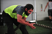 Johny Hendricks trains at Kennedale High School in Kennedale, Texas on February 12, 2014.