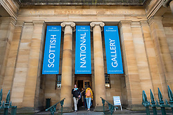 Entrance to Scottish National Gallery art museum in Edinburgh, Scotland, United Kingdom.