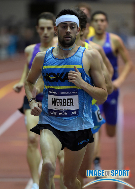 Feb 20, 2016; New York, NY, USA; Kyle Merber (USA) paces the Wanamaker Mile during the 109th Millrose Games at The Armory.