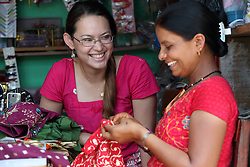 AYAD volunteer Julia Price on the left and Nava Kala Sharma on right was trained at the MEDEP funded centre and has now rented premises next door to run her own small business, MEDEP, Sangita Training Centre, Patichaur, Ward 9 Deupur VDC  Pokhara, Nepal.