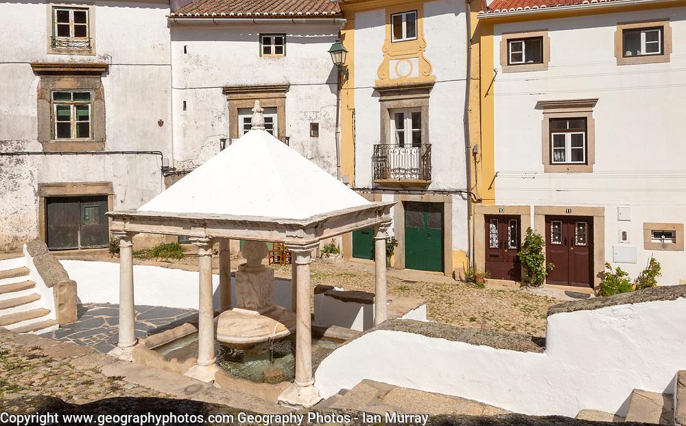 Historic public water supply from fountain in old Jewish area, the Judiara, Castelo de Vide, Alto Alentejo, Portugal, southern Europe