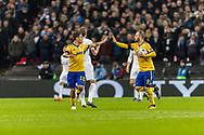 Juventus midfielder forward Gonzalo Higuain celebrates his goal with teammate, forward Paulo Dybala during the Champions League match between Tottenham Hotspur and Juventus FC at Wembley Stadium, London, England on 7 March 2018. Picture by Toyin Oshodi.