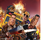 Lots of shooting and stuff all blow'd up. Caricature: Arnold Schwarzenegger, Johnny Knoxville in The Last Stand.  Sylvester Stallone in Bullet to the Head. 3D modeling and Photoshop for Penthouse Magazine.