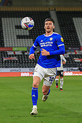 Cardiff City forward Kieffer Moore (10) during the EFL Sky Bet Championship match between Derby County and Cardiff City at the Pride Park, Derby, England on 28 October 2020.