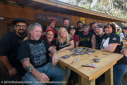 Guest magazine editor judges for the Harley-Davidson Editors Choice bike show at the Broken Spoke Saloon with Saloon owner Melissa Penland and Harley-Davidson's Manon Durand.  Daytona Bike Week 75th Anniversary event. FL, USA. Wednesday March 9, 2016.  Photography ©2016 Michael Lichter.