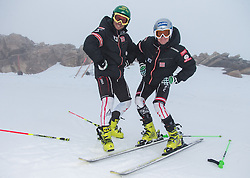 08.10.2013, Moelltaler Gletscher, Flattach, AUT, OeSV Medientag, im Bild v.l. Philipp Schörghofer, Christoph Nösig // f.l. Philipp Schörghofer, Christoph Nösig during the media day of Austrian Ski Federation OeSV at Moelltaler glacier in Flattach, Austria on 2013/10/08. EXPA Pictures © 2013, PhotoCredit: EXPA/ Johann Groder