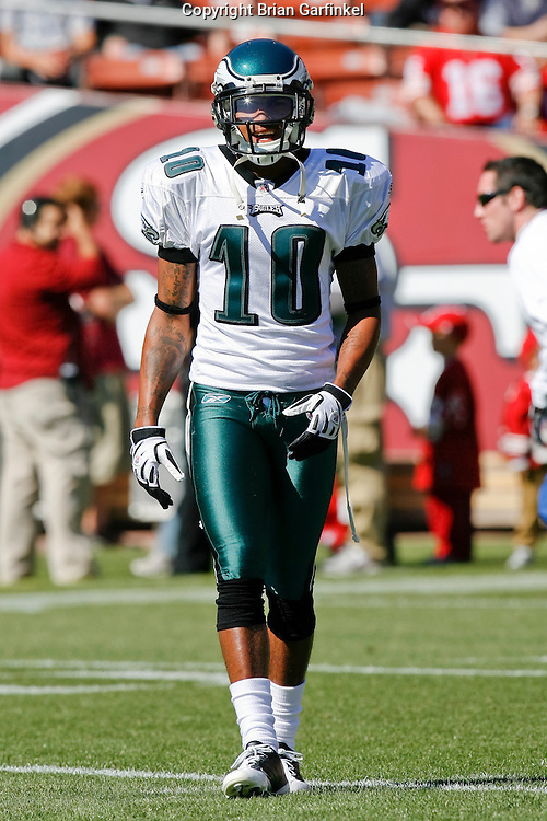 12 Oct 2008: Philadelphia Eagles wide receiver DeSean Jackson #10 warms up before the game against the San Francisco 49ers on October 12th, 2008. The Eagles won 40-26 at Candlestick Park in San Francisco, California.