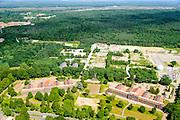 Nederland, Gelderland, Ede, 09-06-2016; terreinen van de voormalige kazernecomplex Prins Mauritskazerne met onder andere Johan Willem Friso Kazerne en de Stingerbol (simulator om te oefenen met het Stinger raketsysteem.<br /> Site of the former barracks complex near Veluw nature area.<br /> aerial photo (additional fee required);<br /> copyright foto/photo Siebe Swart