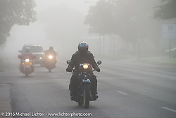 Paul Bessade of France riding his 1929 Henderson KJ in the fog at the beginning of Stage 8 of the Motorcycle Cannonball Cross-Country Endurance Run, which on this day ran from Junction City, KS to Burlington, CO., USA. Saturday, September 13, 2014.  Photography ©2014 Michael Lichter.