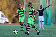 Forest Green Rovers Keanu Marsh-Brown(7) passes the ball during the Pre-Season Friendly match between SC Farense and Forest Green Rovers at Estadio Municipal de Albufeira, Albufeira, Portugal on 25 July 2017. Photo by Shane Healey.
