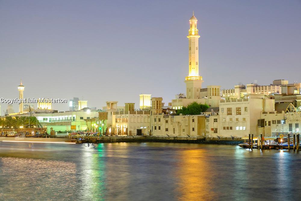 Night view of  The Creek at Bastakia in Deira in old Dubai United Arab Emirates