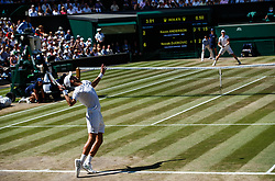 July 15, 2018 - London, England, U.S. - LONDON, ENG - JULY 15: NOVAK DJOKOVIC (SRB) during day thirteen match of the 2018 Wimbledon on July 15, 2018, at All England Lawn Tennis and Croquet Club in London,England. (Photo by Chaz Niell/Icon Sportswire) (Credit Image: © Chaz Niell/Icon SMI via ZUMA Press)