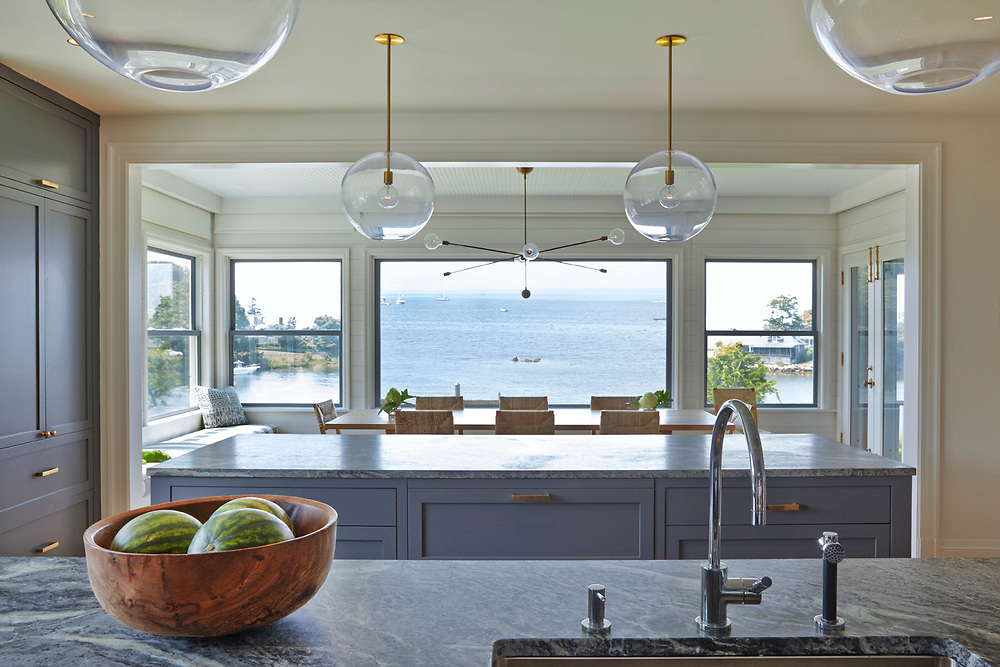 Kitchen and View of Rhode Island Coastal Home.  Architecture by Noury-Ello Architects. Interior Design by Christine Lane Interiors