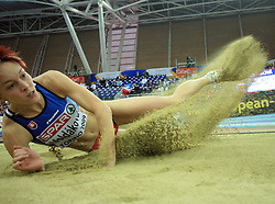 Third placed Dana Veldakova of Slovakia in the final of Women Triple  jump at the 3rd day of  European Athletics Indoor Championships Torino 2009 (6th - 8th March), at Oval Lingotto Stadium,  Torino, Italy, on March 8, 2009. (Photo by Vid Ponikvar / Sportida)