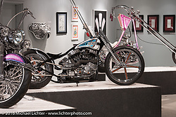 Pat Patterson's Led Sled Custom's custom Harley-Davidson 1200 Sportster in Michael Lichter's Skin & Bones tattoo inspired Motorcycles as Art show at the Buffalo Chip Gallery during the annual Sturgis Black Hills Motorcycle Rally. SD, USA. August 10, 2016. Photography ©2016 Michael Lichter.