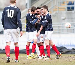 Falkirk's Sean Higgins celebrates after scoring their third goal..Falkirk 4 v 0 Cowdenbeath, 6/4/2013..©Michael Schofield..