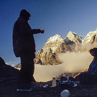 Khumbu Region, Himalaya, Nepal. Mountaineers camp at Zatr Og pass, atop Sebuk Danda ridge above Lukla.