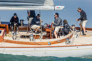 The modern classic, Chloe Giselle leading the fleet while competing on the Solent off the Isle of Wight during the Panerai British Classic Week, the premier classic yacht regatta in the UK which is now in it's 16th year. <br /> Picture date Monday 10th July, 2017.<br /> Picture by Christopher Ison. Contact +447544 044177 chris@christopherison.com