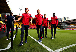 Bailey Wright, Gary O'Neil, Frank Fielding and Famara Diedhiou of Bristol City take in the surroundings of Vicarage Road ahead of their Carabao Cup match against Watford - Mandatory by-line: Robbie Stephenson/JMP - 22/08/2017 - FOOTBALL - Vicarage Road - Watford, England - Watford v Bristol City - Carabao Cup