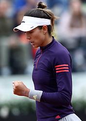 May 13, 2019 - Rome, Italy - Garbine Muguruza (SPA) celebrates during the WTA Internazionali d'Italia BNL first round match at Foro Italico in Rome, Italy on May 13, 2019. (Credit Image: © Matteo Ciambelli/NurPhoto via ZUMA Press)