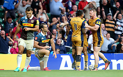 Ryan Edwards of Bristol Rugby celebrates with teammates after scoring a try - Mandatory by-line: Robbie Stephenson/JMP - 03/09/2016 - RUGBY - Twickenham - London, England - Harlequins v Bristol Rugby - Aviva Premiership London Double Header