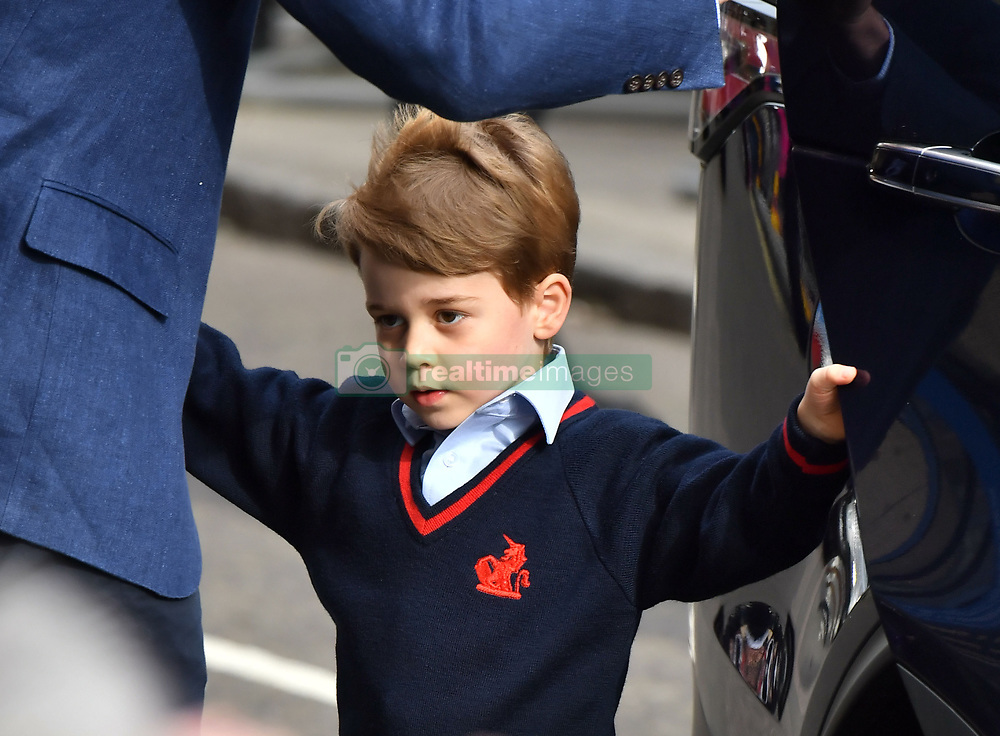 Alternative crop. Prince George arrives to meet his newborn brother at the Lindo Wing at St Mary's Hospital in Paddington, London.