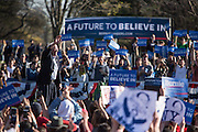 """Brooklyn, NY - 17 April 2016. Sanders waves to the crowd as he leaves the rally. Vermont Senator Bernie Sanders, who is running as a Democrat in the U.S. Presidential primary elections, held a campaign """"get out the  vote"""" rally in Brooklyn's Prospect Park."""