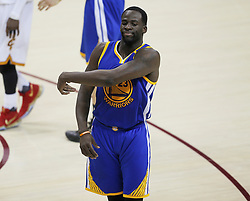 The Golden State Warriors' Draymond Green reacts to a technical foul that was called back against the Cleveland Cavaliers in the third quarter during Game 4 of the NBA Finals at Quicken Loans Arena in Cleveland on Friday, June 9, 2017. The Cavs won, 137-116, trimming their series deficit to 3-1. (Photo by Leah Klafczynski/Akron Beacon Journal/TNS) *** Please Use Credit from Credit Field ***