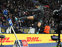 Football - 2017 / 2018 FA Cup - Quarter-Final: Leicester City vs. Tottenham Hotspur<br /> <br /> Pedro of Chelsea celebrates scoring the winning goal,by kicking the corner flag at King Power Stadium.<br /> <br /> COLORSPORT/ANDREW COWIE