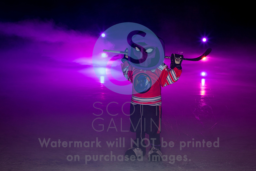 Youngstown Phantoms player photo shoot on January 6, 2020.<br /> <br /> Phantom, mascot