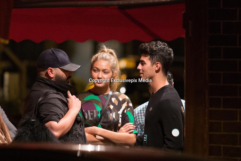 GIGI HADID AND JOE JONAS DINE AT RESTAURANT ' RELAY VENICE ' PARIS , FRANCE<br /> ©Exclusivepix Media