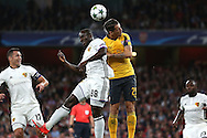 Seydou Doumbia of FC Basel and Granit Xhaka of Arsenal (r) compete for the ball. UEFA Champions league group A match, Arsenal v FC Basel at the Emirates Stadium in London on Wednesday 28th September 2016.<br /> pic by John Patrick Fletcher, Andrew Orchard sports photography.